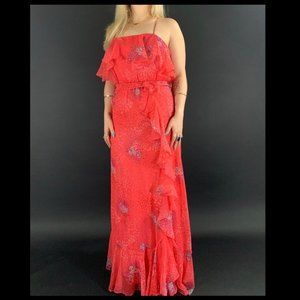 70s Floral Ruffle Maxi Dress